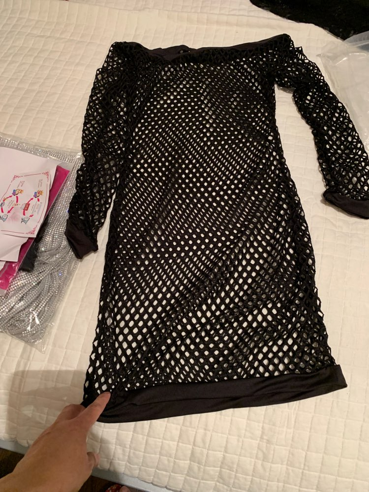 Nadafair Long Sleeve Off Shoulder Hollow Out See Through Mesh Sexy Club Dress Fashion Slash Neck Mini Party Dresses White Black