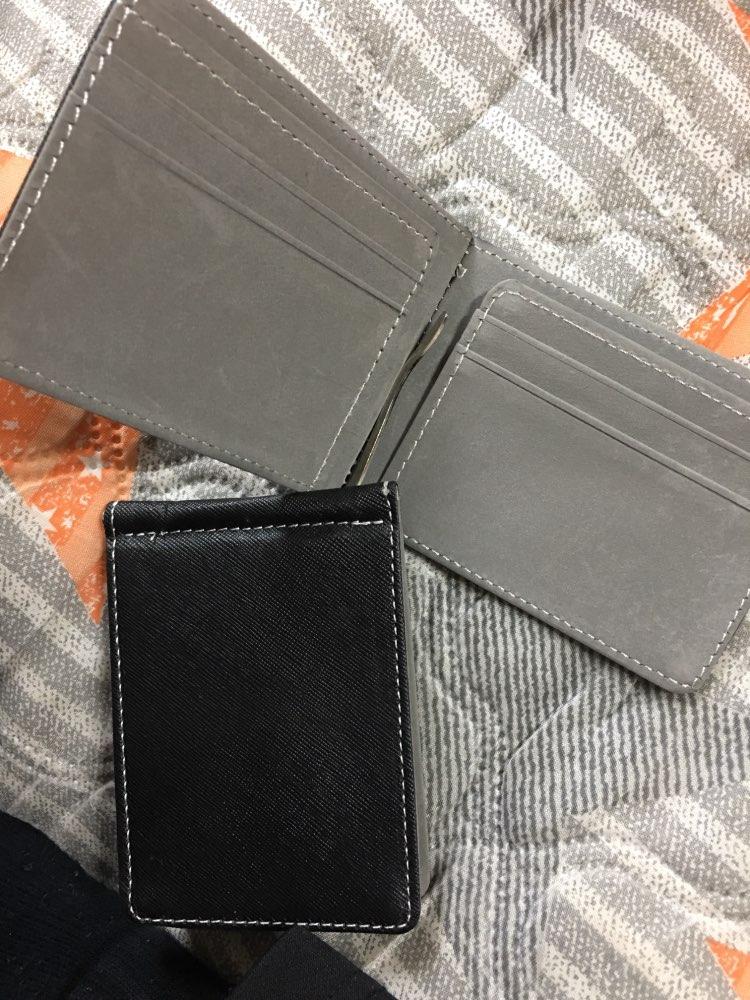 Kunstleer Slanke mens Creditcard Portemonnee Geld Clip Contractkleur Eenvoudig ontwerp Gepolijste randen Gloednieuwe mannen Bifold-portefeuilles photo review