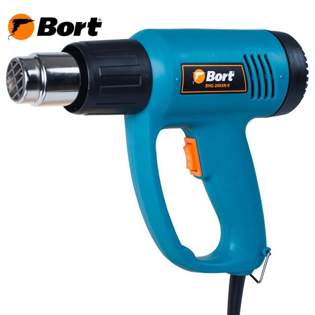 Фен технический Bort BHG-2005N-K (Мощность 2000 Вт, 2 режима работы расход воздуха 300/500 л.мин, температура 350/550 С , кейс с насадками)