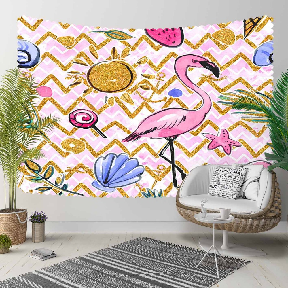 Else Pink Flamingo Verev Lines Sun Blue Sea Shells 3D Print Decorative Hippi Bohemian Wall Hanging Landscape Tapestry Wall Art