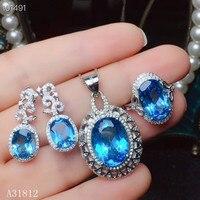 KJJEAXCMY бутик ювелирных изделий 925 с инкрустацией, из чистого серебра Природный Голубой топаз ожерелье Кулон Кольцо уха ногтей набор поддержк