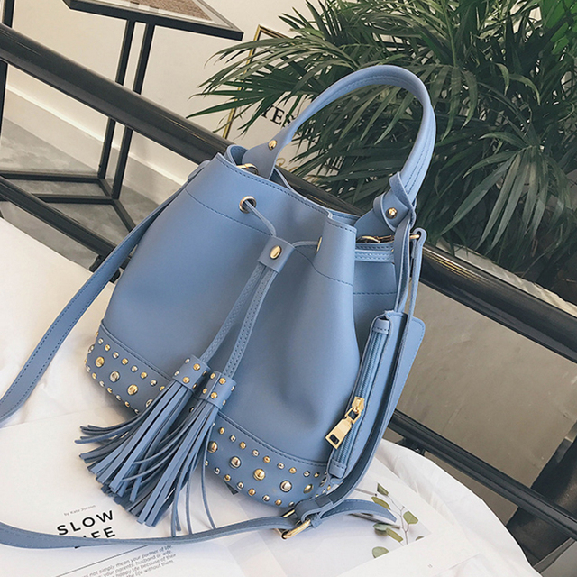 CHENGYANG Fashion Rivet Bucket Bags Set Women Handbags PU Tassels Ladies Shoulder Bags For Female Ladies Crossbody Bags Bolsos