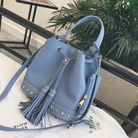 CHENGYANG Fashion Rivet Bucket Bags Set Women Handbags PU Tassels Ladies Shoulder Bags For Female Ladies
