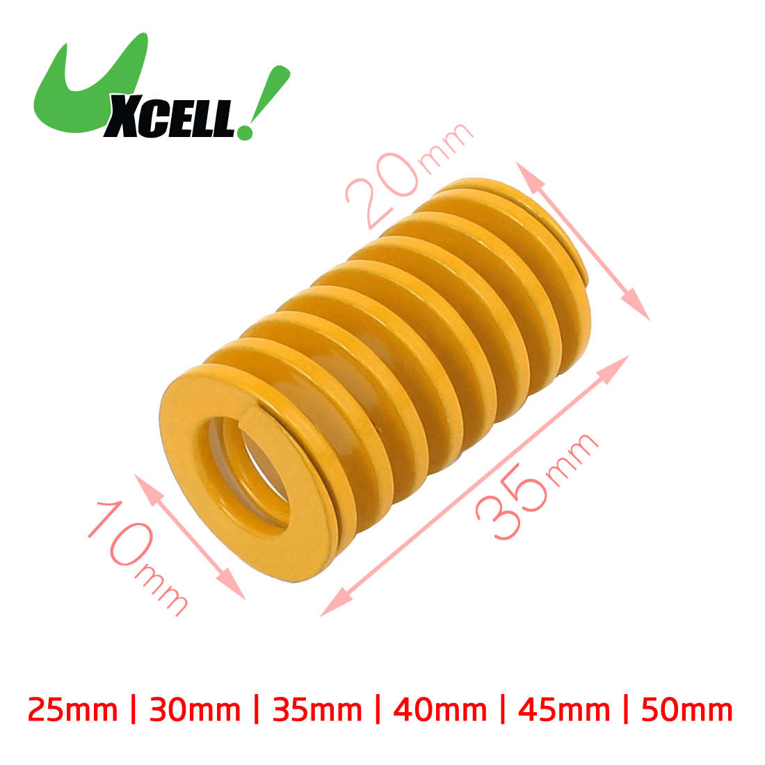 Uxcell Od 20mm Id 10mm 10.5mm Medium Load Spiral Stamping Compression Die Spring Red Yellow 25mm 40mm 45mm 50mm 65mm 70mm free shipping 10pcs 20mm x 10mm x 50mm spiral metal stamping compression die spring