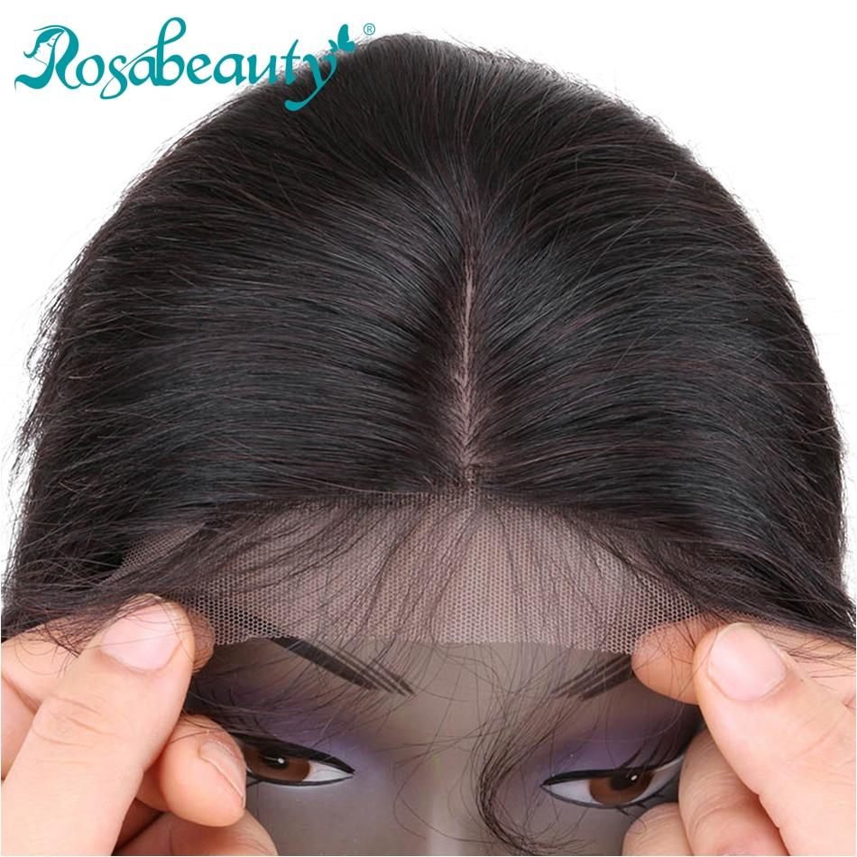 Rosabeauty прямые шелковые накладные волосы Remy бразильские волосы 4X4 шелковое закрытие с отбеленными узлами средняя часть