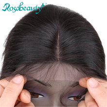 Rosabeauty Base recta de seda con cierre, pelo brasileño Remy, 4x4, cierre de seda con nudos blanqueados, parte media
