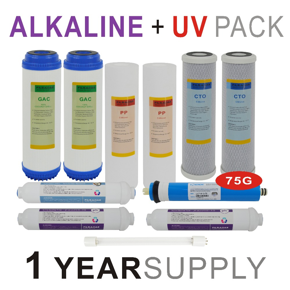 1 Year Supply Alkaline Ultraviolet Reverse Osmosis System Replacement Filter Sets 11 Filters with UV Bulb and 75GPD RO Membrane in Water Filter Parts from Home Appliances