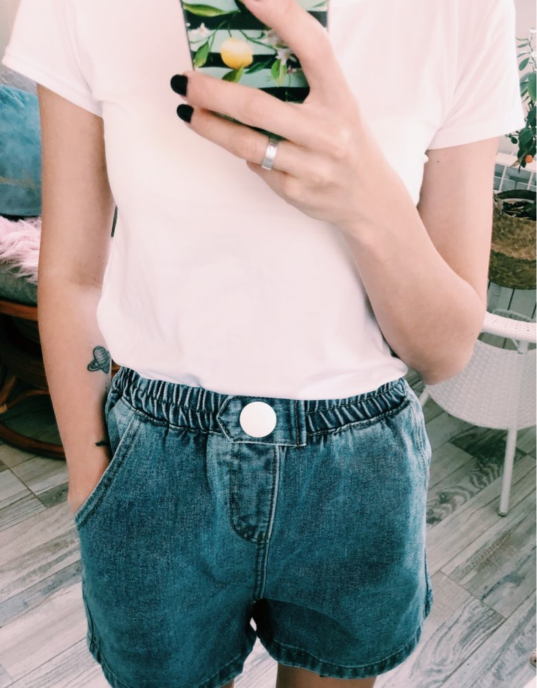Streetwear Summer Women Denim Shorts New Arrival High Elastic Waist Wide Leg Shorts Jeans Black Blue White Pink Short Femme photo review