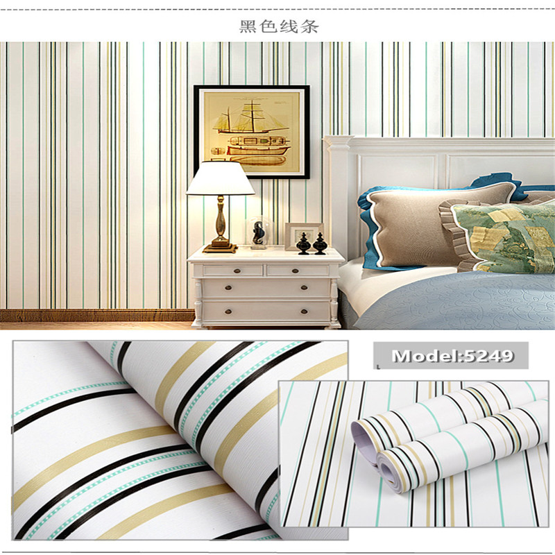 Creative color stripe waterproof solid color thickening furniture renovation wallpaper bedroom self-adhesive wallpaper 10 meters xl7215 personalized decorative color feather creative wallpaper