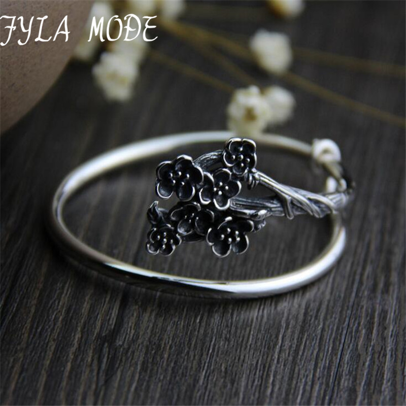 New Delicate S925 Silver Simple Plum Flower Branch Wrap Cuff Bracelets for Women Antique Thai Silver Jewelry For Mother delicate rhinestone filigree butterfly solid color ear cuff for women