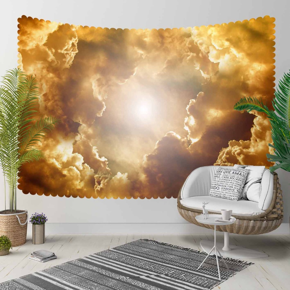 Else Yellow Gray Clouds Sun Set Shine Sky 3D Print Decorative Hippi Bohemian Wall Hanging Landscape Tapestry Wall Art