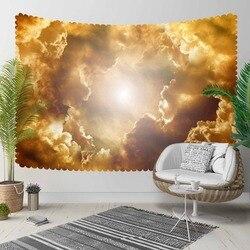Indziej żółty szary chmury słońce zestaw połysk Sky 3D druku dekoracyjne Hippi czeski ścianie wisi krajobrazu gobelin ściany sztuki w Dekoracyjne gobeliny od Dom i ogród na