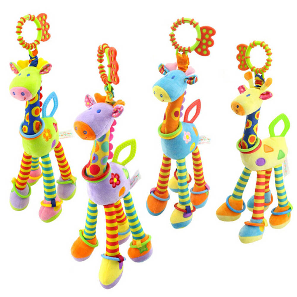 Infant Animal Giraffe Plush Toys Baby Bed Bell Toys BB Rattles Soft Car Hanging Toy Teether Rattle Early Educational Doll