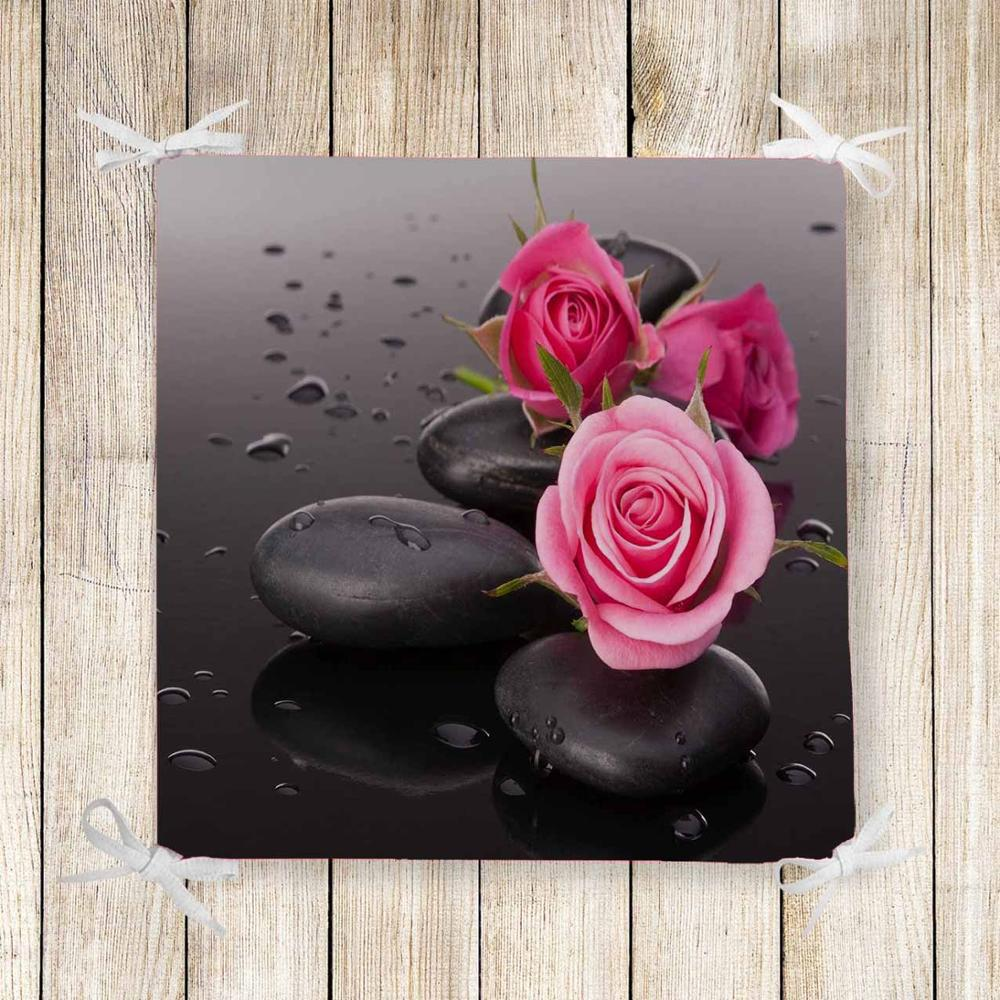 Else Brown Spa Stones On Pink Roses 3d Print Square Chair Pad Seat Cushion Soft Memory Foam Full Lenght Ties Non Slip Washable
