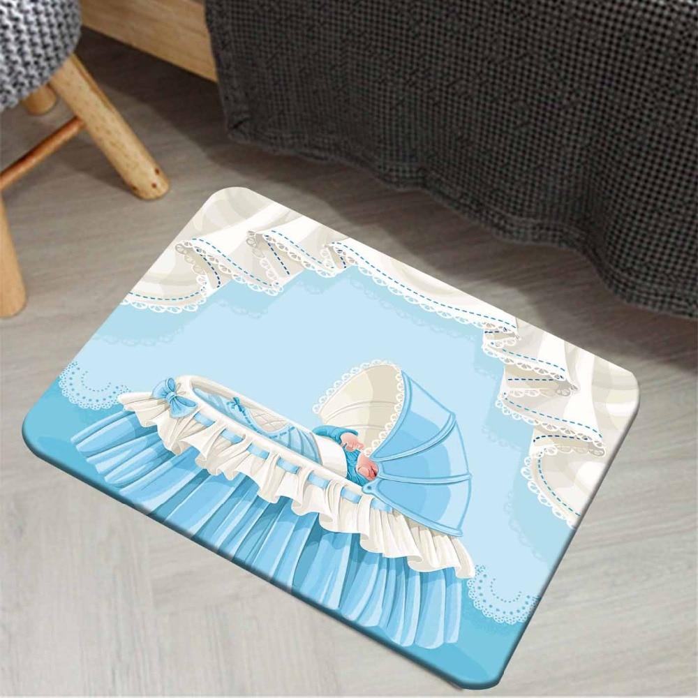 Else White Blue Boys Baby Sweet Cradle 3d Cartoon Print Anti Slip Doormat Home Decor Entryway Kids Children Room Mat