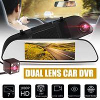 7 Inches 1080P HD Dual Lens Car DVR 170 Degree Dash Video Mirror Recorder Rear View
