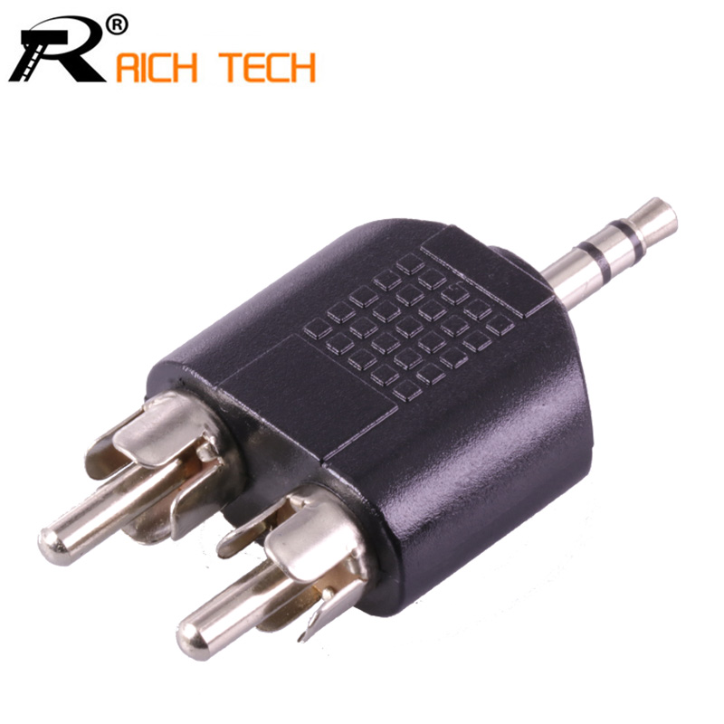 3Pcs RICH TECH 1 to 2 RCA Connector 3 pole 3.5 MM Jack Stereo Male Plug to 2xRCA Male Plug Adapter 1pc microphone 6 35 mm female to 3 5 mm male stereo audio connector adapter plug