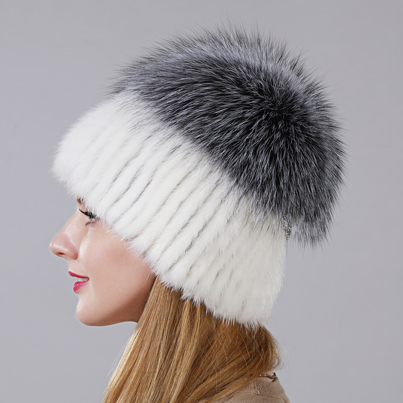 2018 chapeau de champignon classique en forme de chapeau véritable fourrure de vison avec renard argenté ou fourrure de raton laveur partie supérieure plus courte de haute qualité fourrure chapeau chaud