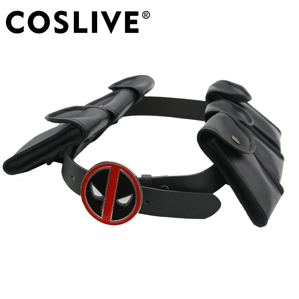 Coslive Halloween Movie Cosplay X-Men Deadpool Cosplay Accessories Deadpool Belt with  6 Small Bags Cosplay Costume Props