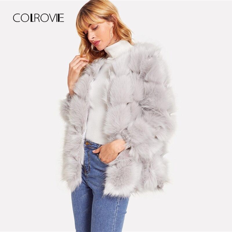 COLROVIE Cinza Chevron Festa Inverno Do Falso Casaco De Pele Das Mulheres Quente Casacos 2018 Streetwear Da Frente Aberta Longo Casaco Feminino Moda Outwears