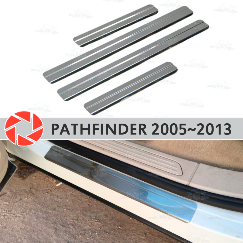 Door sills for Nissan Pathfinder 2005~2013 step plate inner trim accessories protection scuff car styling decoration clear car door led logo ghost shadow light step projector welcome light laser lamp jesus fish puddle light for dodge ford 1524 white