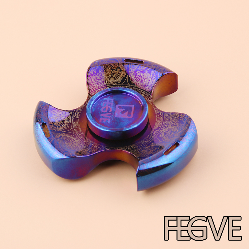 2017 FEGVE Top Quality Fidget Spinner Engrave Name Titanium EDC Hand Spinner For Autism and ADHD Anxiety Stress Relief Focus Toy 7 colors lighting funny toy abs plastic edc hand spinner for autism and adhd rotation long time stress relief toys