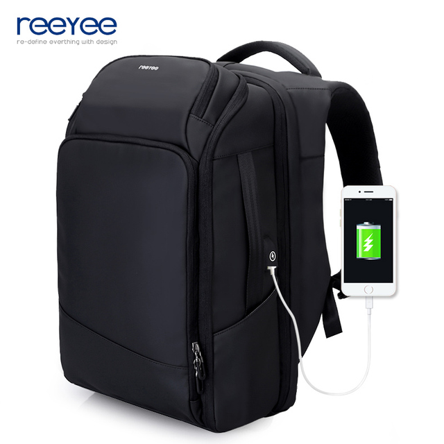 efc74db5a8f ReeYee GPS Anti-theft Backpack For 17 inches Laptop Business Bags USB  Charging Port Men Fashion Travel Backpack Large Capacity