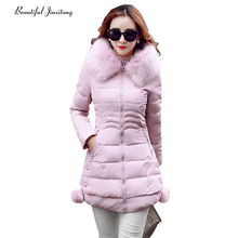 2017 Autumn Winter Cotton Clothing Women Jacket Korean Version New Slim Was Thin Long Hooded Fur Collar Casaco Feminino W16A5