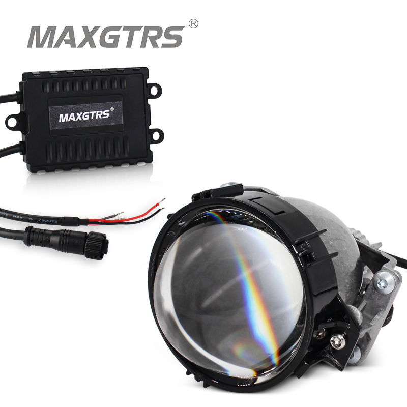 2018 MAXGTRS Auto Bi-LED Projector Lens Headlight 35W 6000K Hi Lo Beam Auto lighting Car LED Headlight Autoparts Universal yy 3 0 inch bi led projector lens headlight 35w 6000k hi lo beam auto lighting headlamp car styling car led headlight auto parts