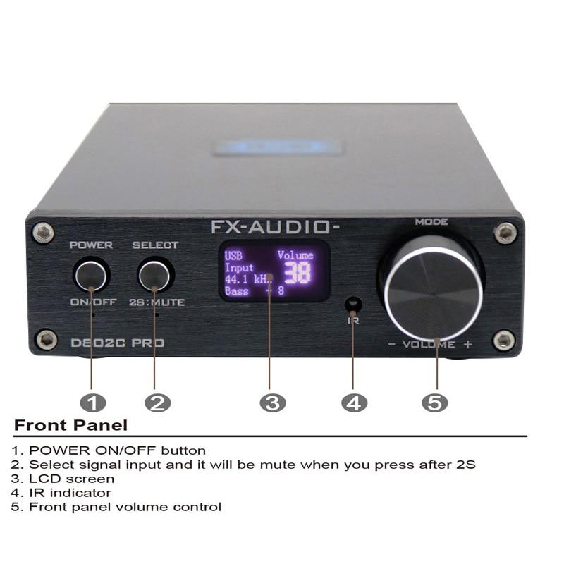 Bluetooth 4.2 Audio Amplifier FX-Audio D802C PRO  80W*2 Streo Amp Support APTX Optical Coaxial 24Bit 192K