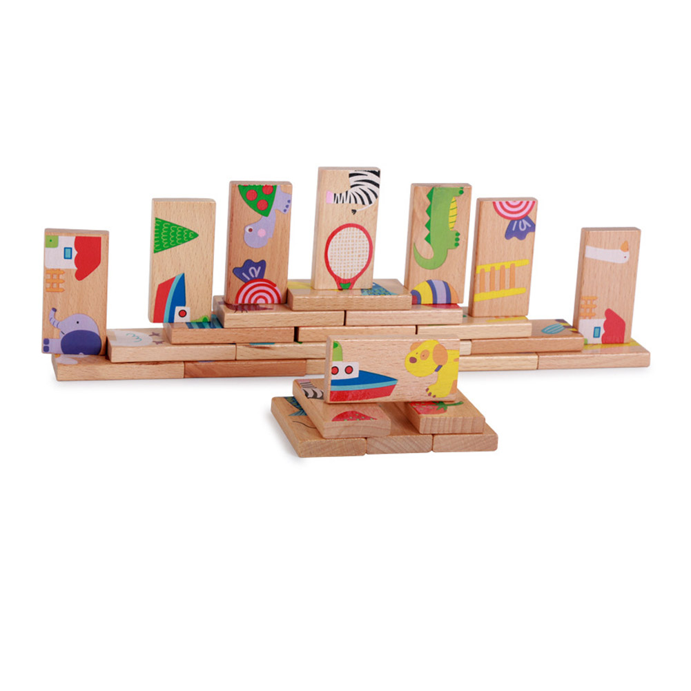 28pcs/set Animal Colored Dominoes Wooden Puzzle Cartoon Montessori Educational Baby Toys Cute Birthday Gifts Funny Kids Games