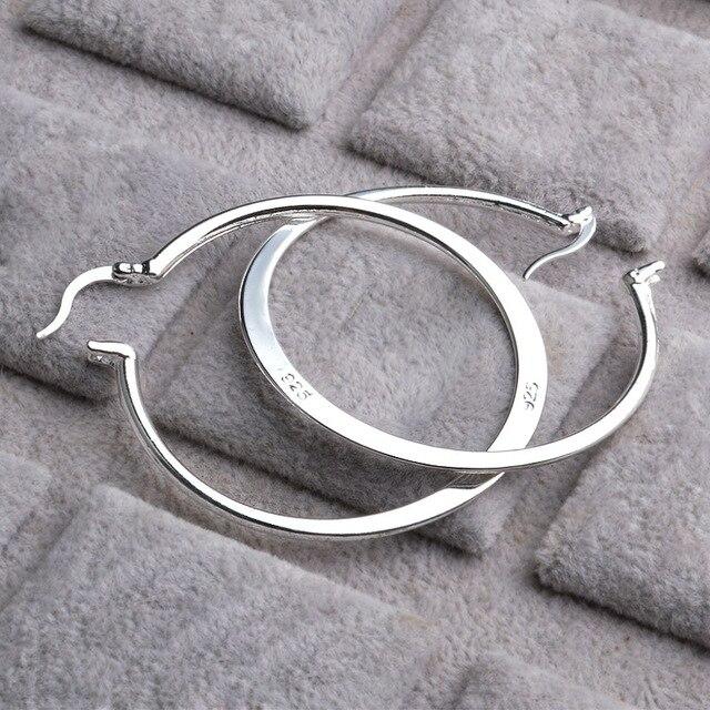 509f12abc Real 925 Sterling Silver Oval Big Hoop Earrings For Women Flat Thin Round  Wedding Jewelry Accessory Punk Brincos Joyas De Plata