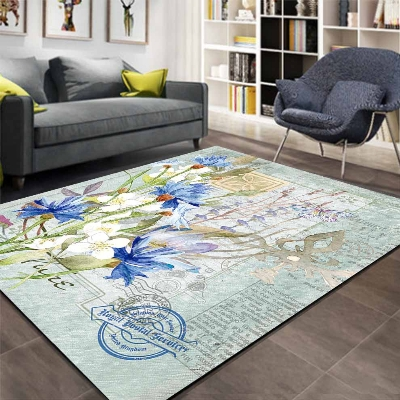 Else Blue Wintage White Floral Floral Writen 3d Print Non Slip Microfiber Living Room Decorative Modern Washable Area Rug Mat