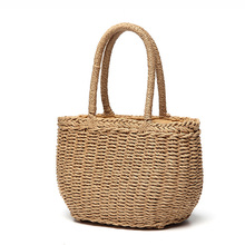 57a77e7cd3 Women Bohemian Straw Bags Female Summer Beach Drawstring Handbag Vintage  Lady Travel Knitted Bag Casual Weave