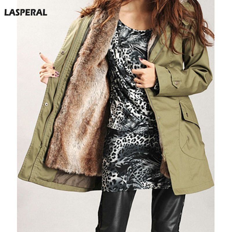 LASPERAL 2017 Parka Winter Women Coat Outwear Large Raccoon Fur Liner Hooded Warm Coats Long Parka Army Green Top Quality Jacket winter parka coat 2017 new women raccoon fur collar rabbit fur parka liner female long section warm thick outwear qw631