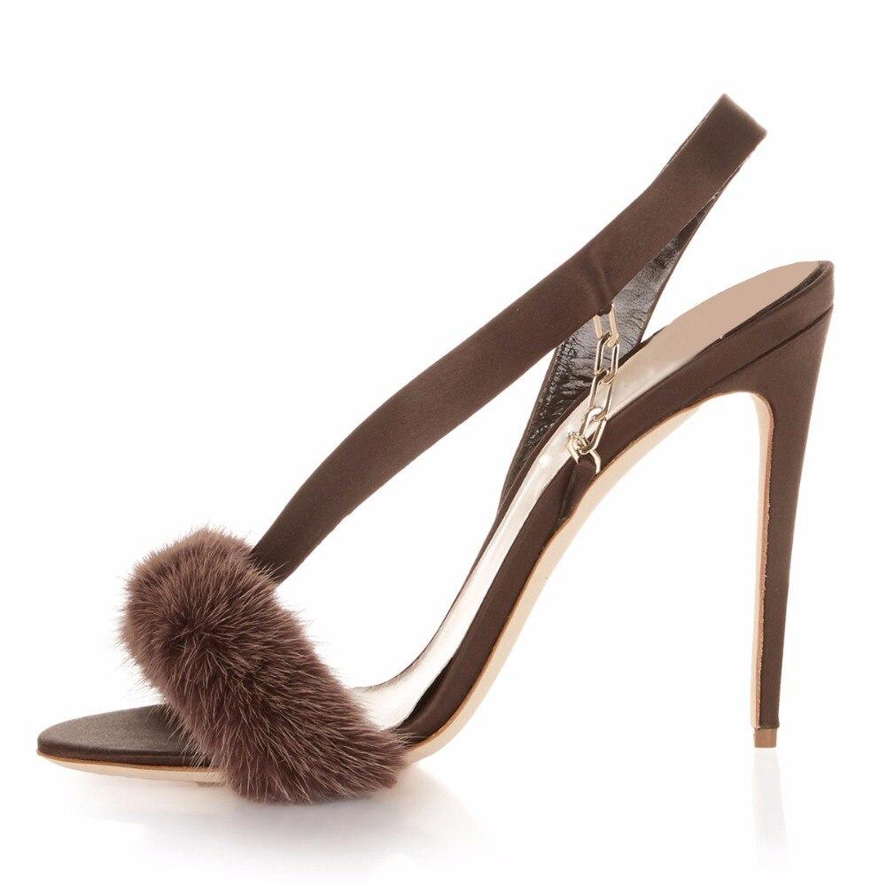 Nueva Zapatos Metal Stiletto brown Pelusa Abierto Plus Sandalias Altos 2018 Dedo  Casual Tacones Tamaño De Cadena Fiesta grey Pie Del Piel ... d550b5a9f1be