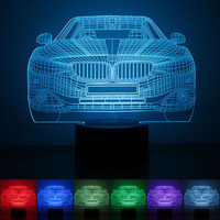 USB Powered Car 3D Night Light LED Desk Lamp Touch Key Decoration Atmosphere Light Use Home Hotel Party Holiday