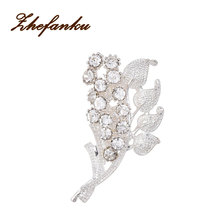 Flowers Leaves Rhinestone Brooches Bouquet Crystal For Wedding Jewelry Scarf Clips Leaf Pins For Woman