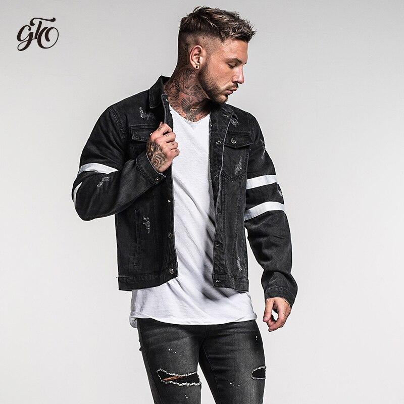 Gingtto Mens Denim Jacket Black Bomber Jacket Jeans Jacket Oversized
