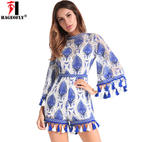 HAGEOFLY Sexy Lace Embroidery Flare Sleeve Playsuits Hollow Out Backless Blue Short Summer Jumpsuits For Beach