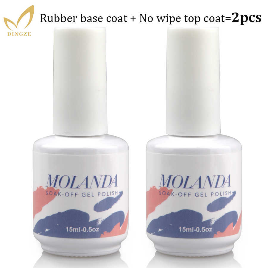 2 unids/lote Base y esmalte en Gel laca superior Set-brillo y larga duración, No limpio, remojo de UV LED Gel 15ml botella