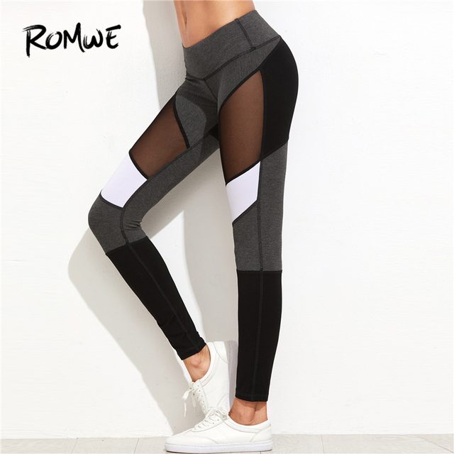 Romwe Sport Color Block Mesh Insert Leggings 2018 Women Sporting Colorblock  Capris Leggings Female Multicolor Sporty Pants a712d4d830a5