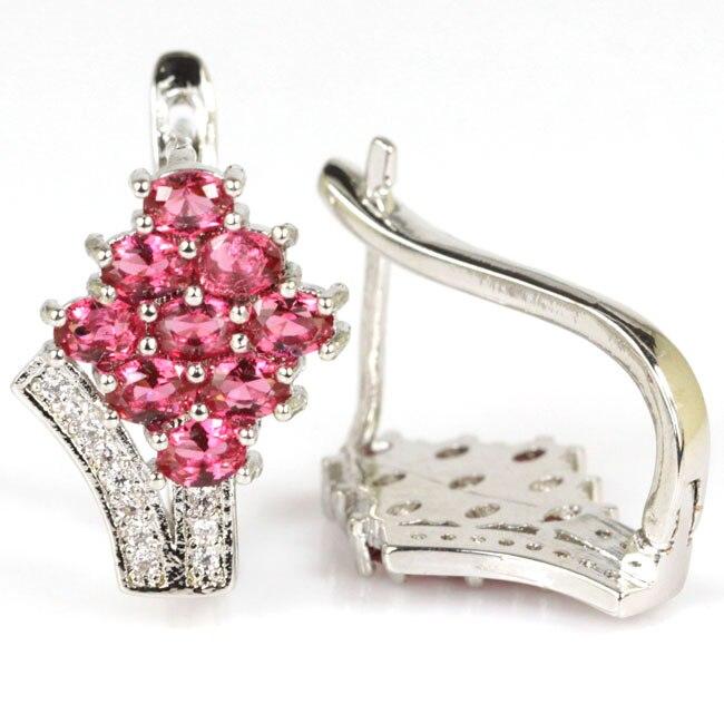 Classic Pink Raspberry Rhodolite Garnet, White CZ Gift For Girls Silver Stud Earrings 20x15mm