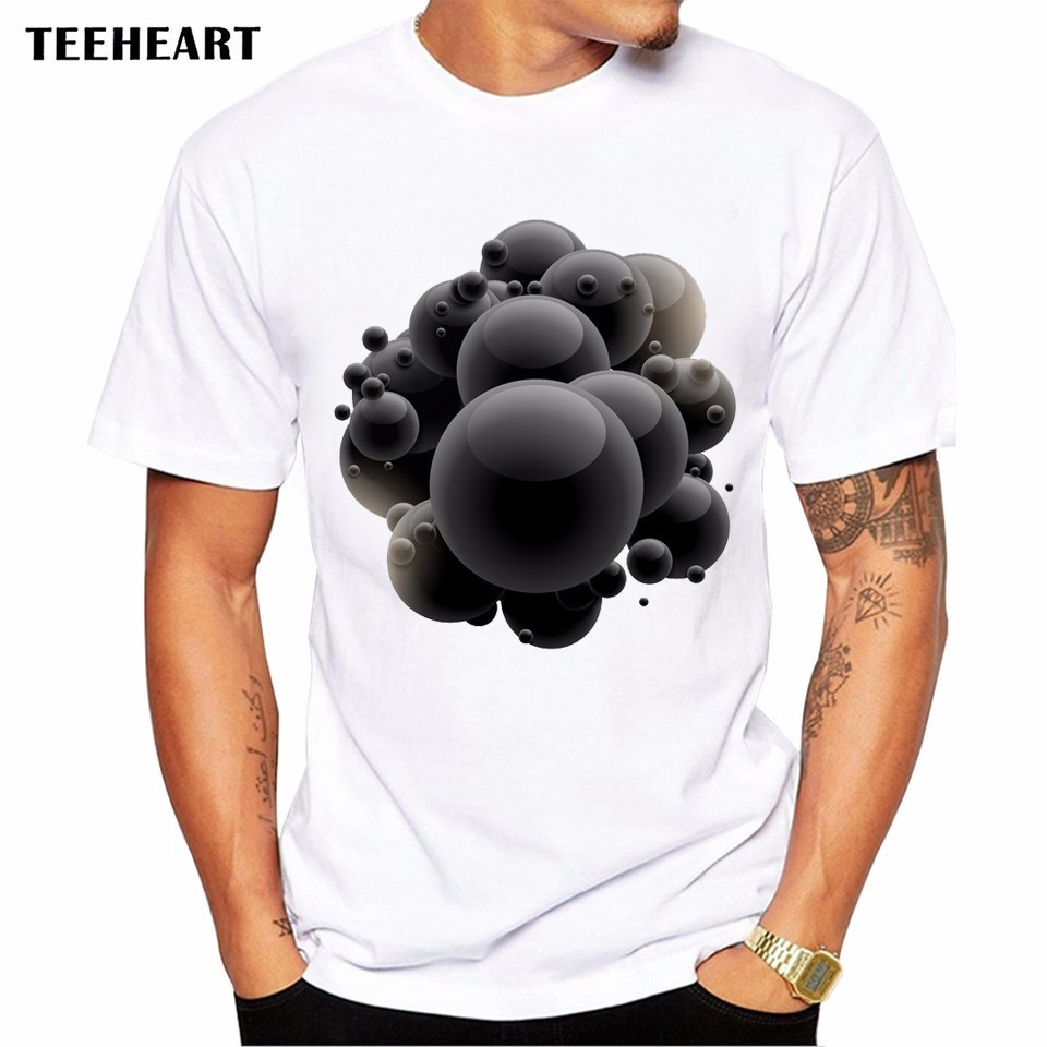 Design t shirt graphics online - 2017 Summer Black Bubbles Design T Shirt Men S High Quality 3d Graphics Printed Tops Hipster Tees