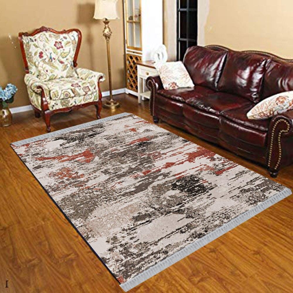 Else Brown Black Gray Abstract Watercolor Vintage 3d Print Anti Slip Kilim Washable Decorative Kilim Tassel Rug Bohemian Carpet