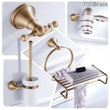 Аксессуары для ванной комнаты, держатель для полотенец, держатель для бумаги, крючок для халата, античная латунь, настенный, твердая латунь, набор для душа