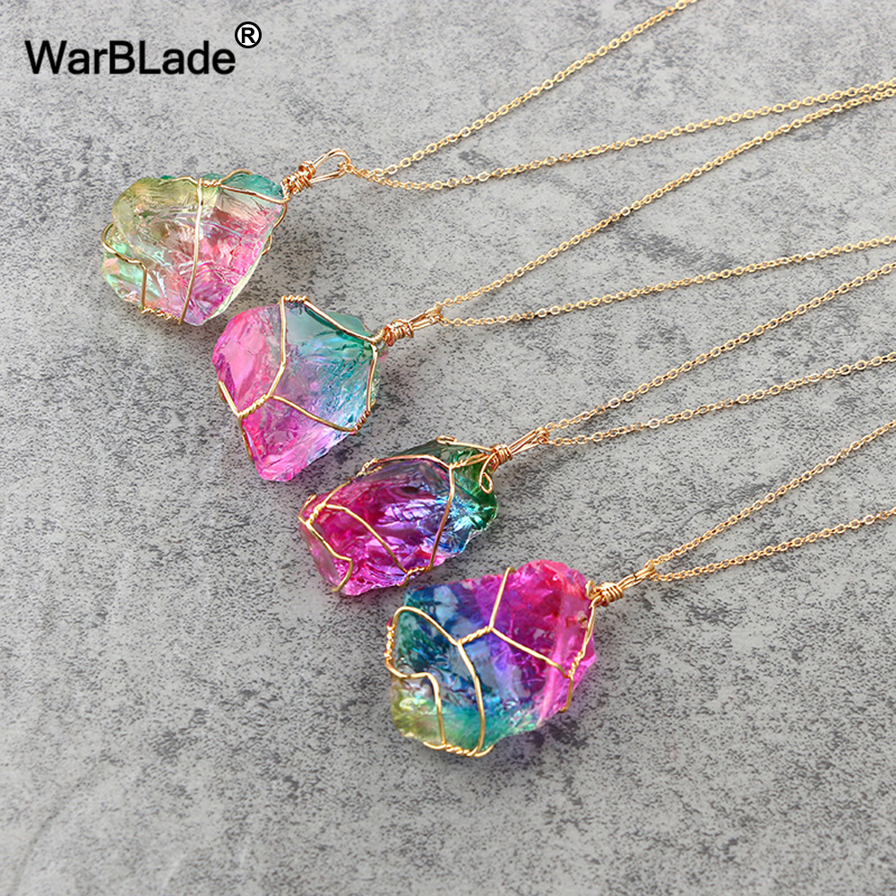 WarBLade Natural Stone Rainbow Crystal Pendant Necklace Wire Wrapping Irregular Quartz Stone Necklaces For Women Jewelry Gift