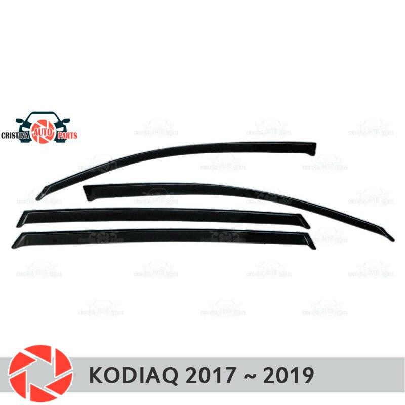Deflector de ventana para Skoda Kodiaq 2017 ~ 2019 deflector de lluvia protección de suciedad accesorios de decoración de diseño de coche moldeado