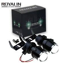 ROYALIN Universale Alogeni Fari Luci Retrofit Lente Del Proiettore 12 V 35 W Car Styling Luci di Guida Lampade con Alogena H3 lampadine