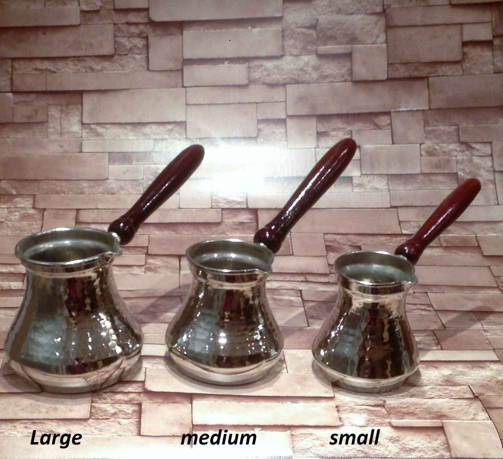 Solid Hammered Turkish Greek Arabic Coffee Pot Coffee Wooden handle,silver color